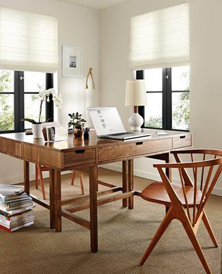 Ellis Desk in Walnut Modern Office Furniture Room Board