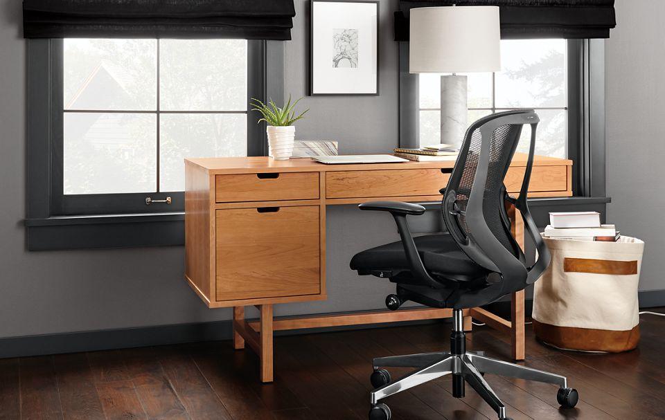 Detail of Ellis single file drawer desk