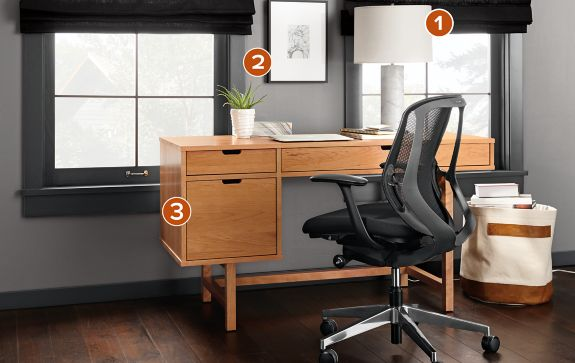 Ellis Desk In Natural Cherry With Sylphy Chair Modern