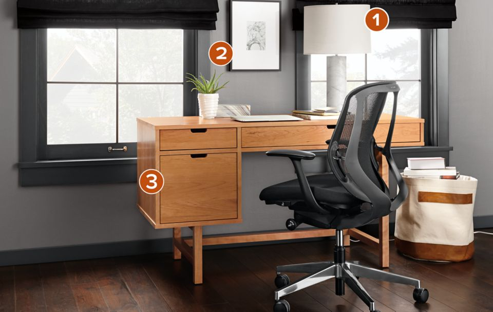 Ellis Desk In Natural Cherry With Sylphy Chair Office