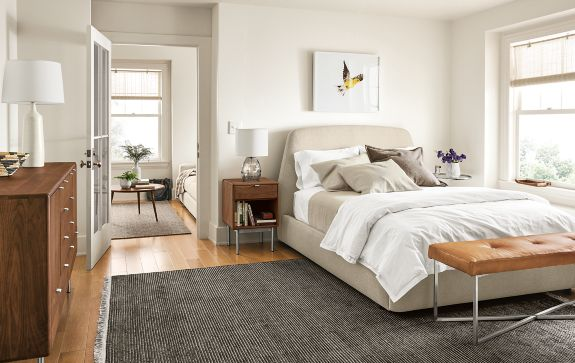 Bedroom Boards Collection emery storage bed with hensley collection - modern bedroom