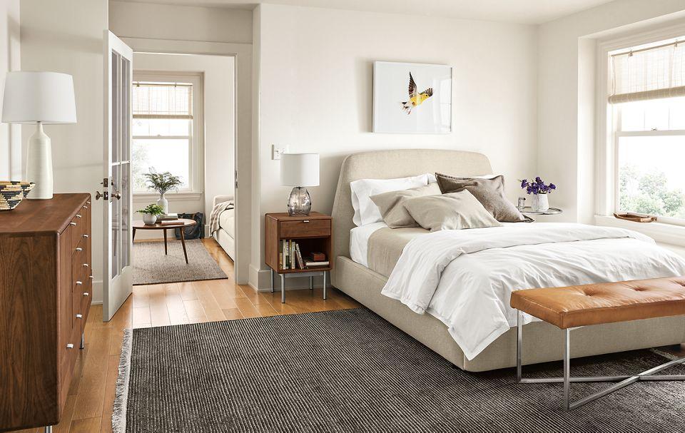 Emery queen storage bed in modern room