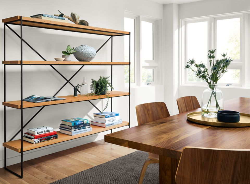 Side view of Etting open bookcase