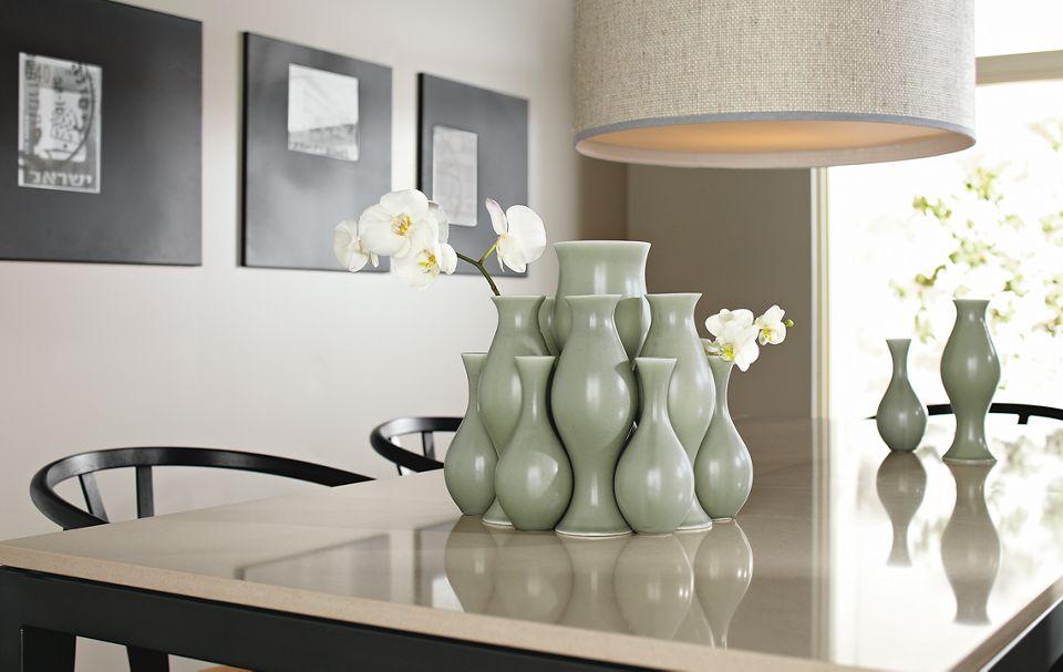 Detail of Eva Zeisel vases in grey