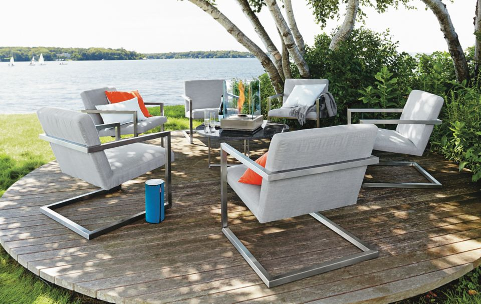 Six Finn outdoor lounge chairs