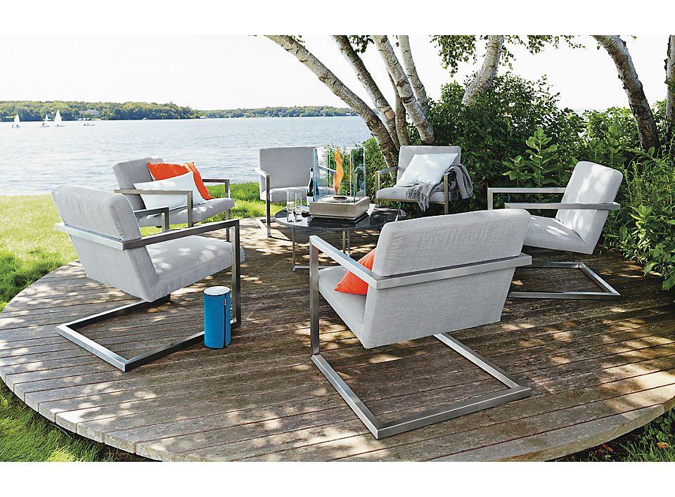 Six Finn outdoor lounge chairs