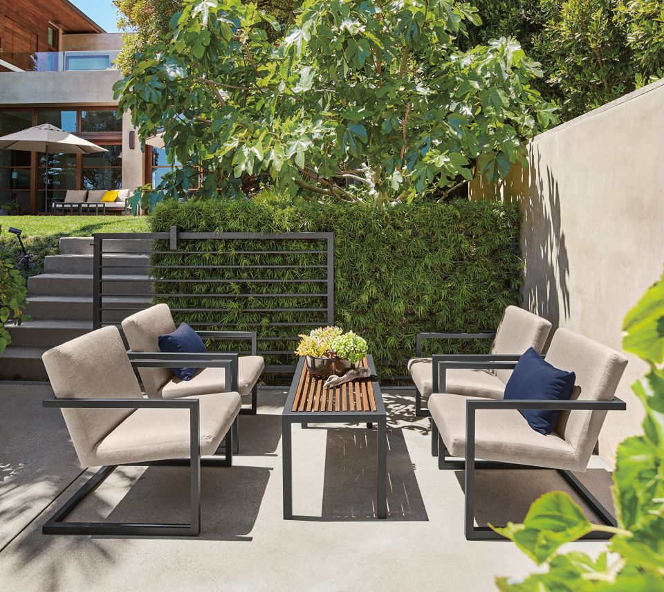 Detail of Finn lounge chairs on patio