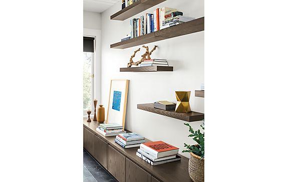 Float Shelves in Ash with Bark