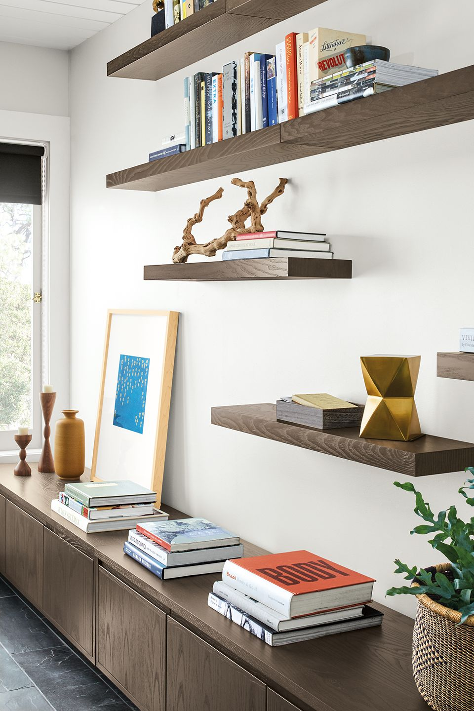 Side detail of eight Float wall shelves