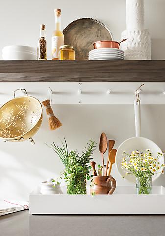 Detail of Float wall shelf in kitchen