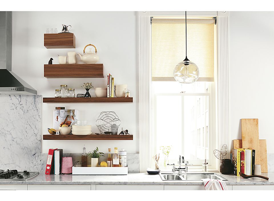 Front view of Float open shelving in kitchen