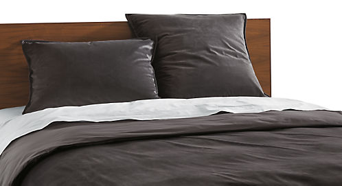 Detail of Fontaine full/queen duvet cover in charcoal