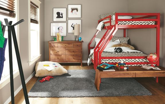 Fort Duo Bunk Bed in Red Modern Kids Furniture Room & Board