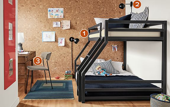 Fort Twin Over Full Mini Bunk Bed in Natural Steel