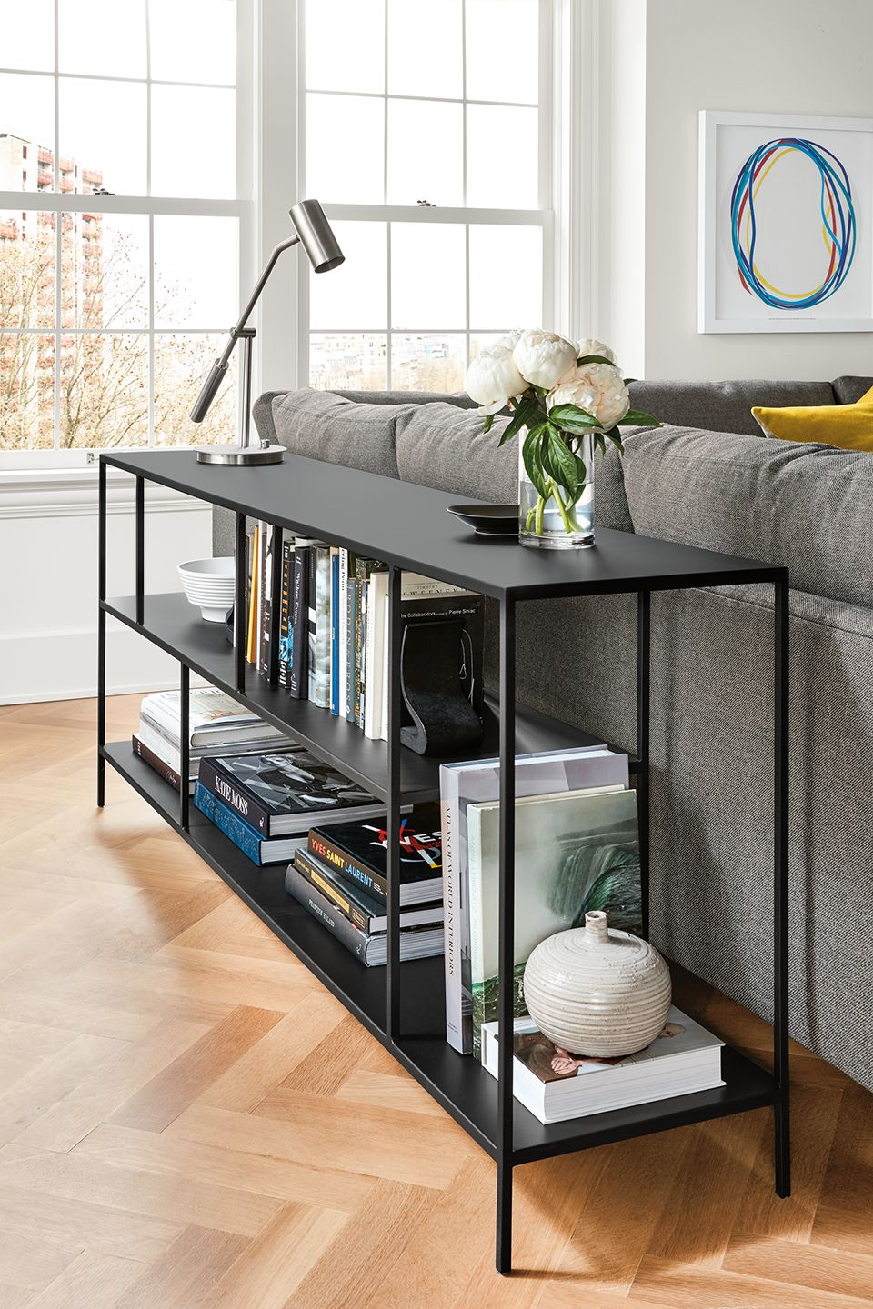 Side detail of Foshay console bookcase