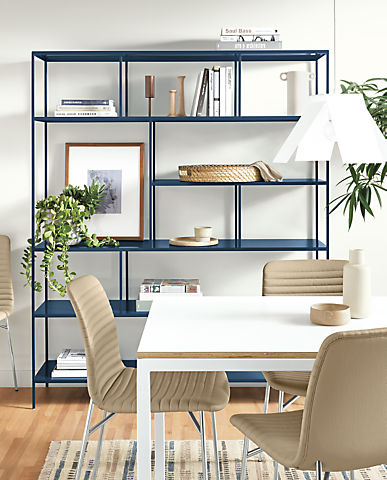 Detail of Foshay bookcase in Sapphire powdercoat in dining room