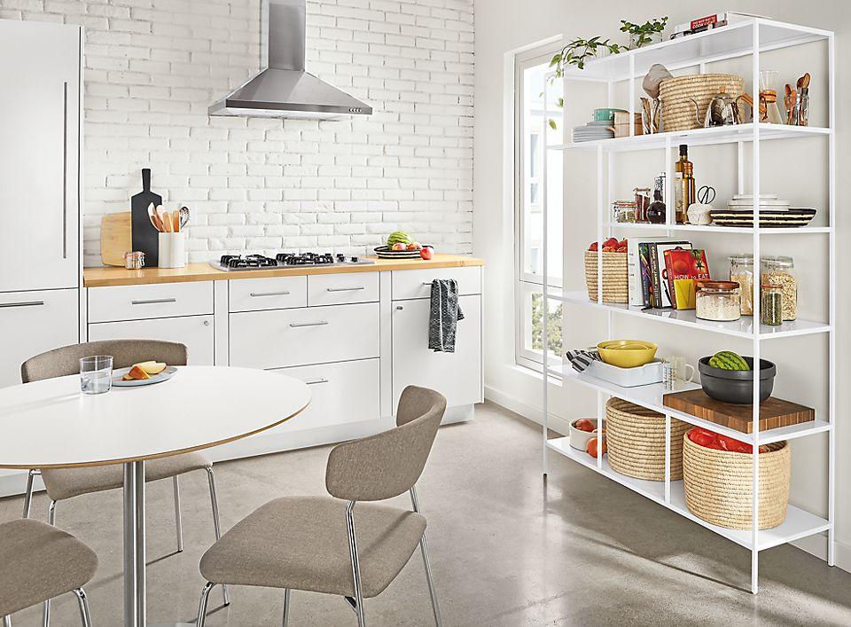 Detail of Foshay bookcase in kitchen