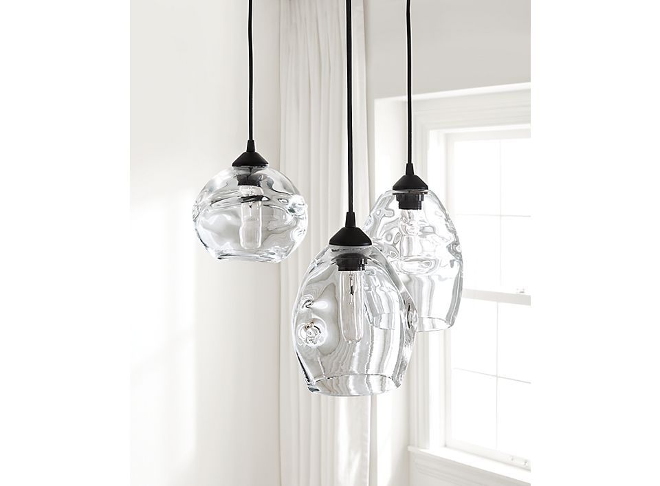 Set of three glass pendant lights