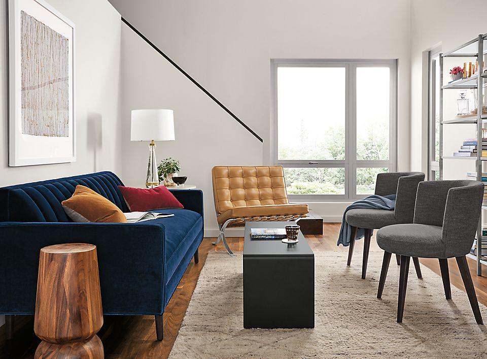 Detail of Goodwin sofa in blue velvet