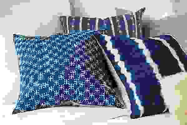 Detail fo Gouro indigo pillow