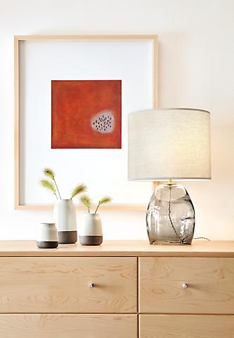 Grace glass table lamp on dresser