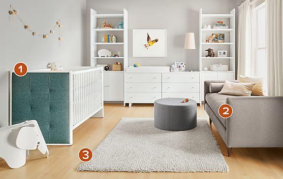 Greta Crib with Addison Bookcases in White
