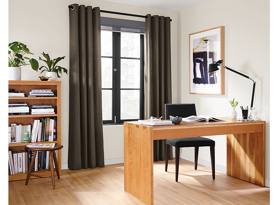 Detail of Grommet drapes in dark grey