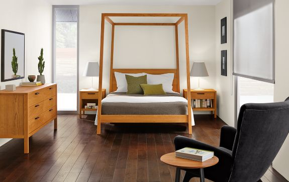 Bedroom Boards Collection hale bed with mills collection in cherry - modern bedroom