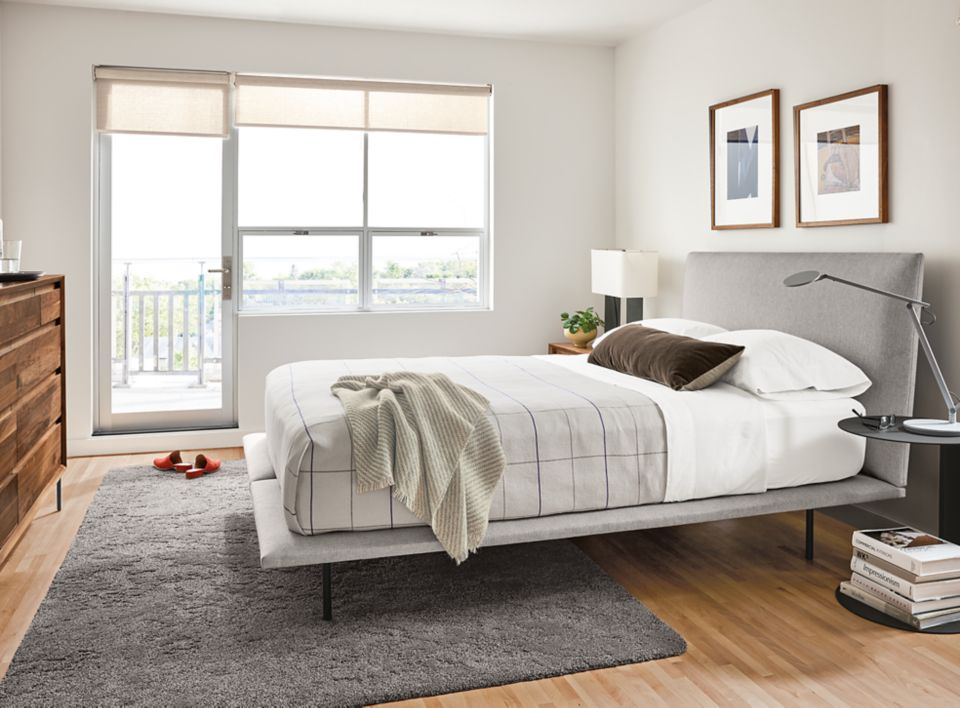 Hanson queen upholstered bed in bedroom