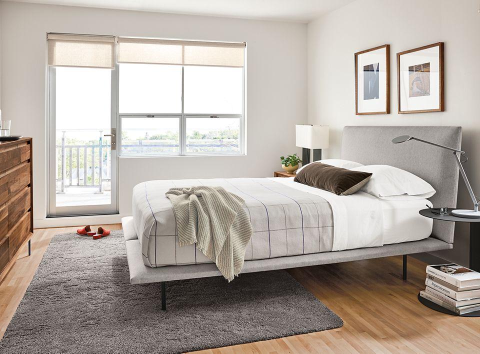 Hanson queen upholstered bed in bedroom