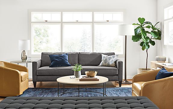 Harrison Sofa and Amos Leather Swivel Chairs