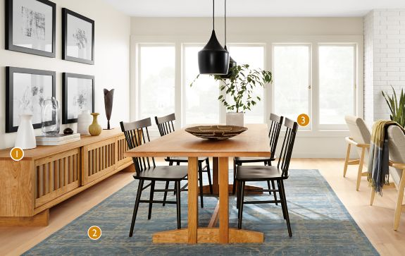 hart dining table in natural cherry - modern dining room furniture ...
