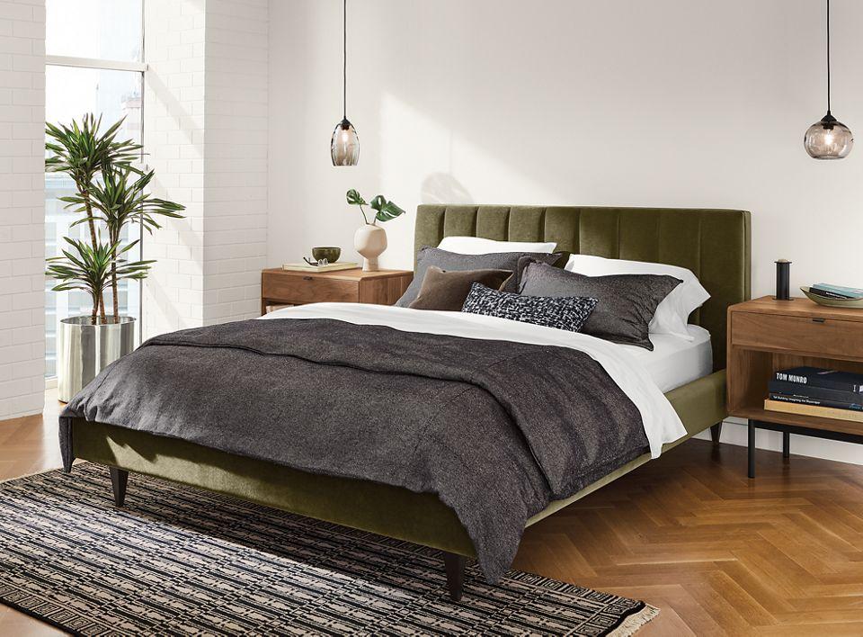Detail of Hartley queen bed in velvet