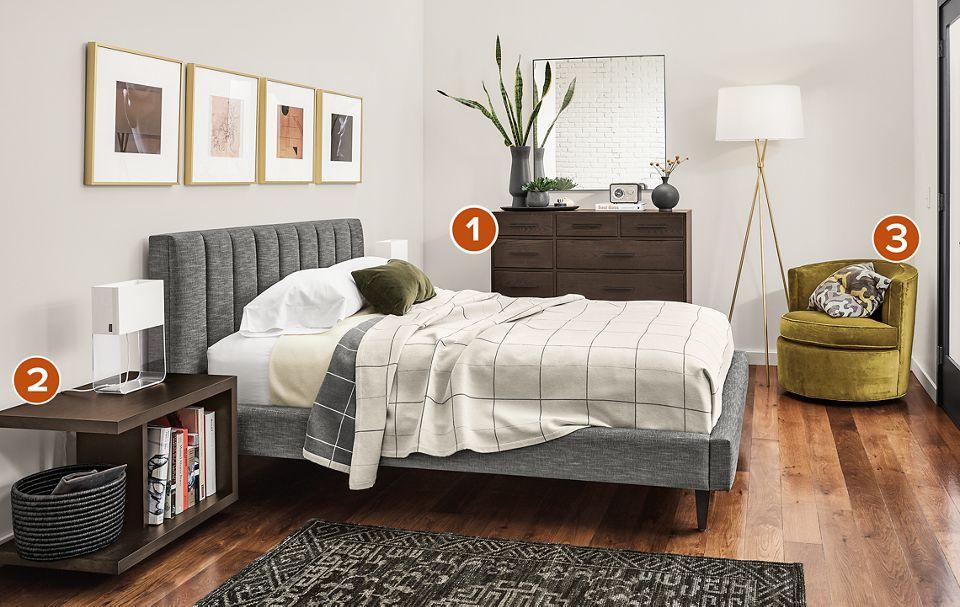 Side detail of Hartley upholstered bed