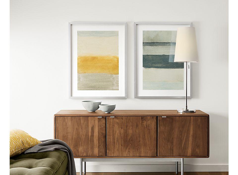 Detail of Hensley media cabinet in walnut in living room