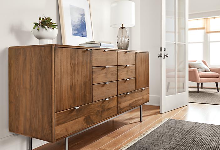 Detail of Hensley eight-drawer dresser in hallway