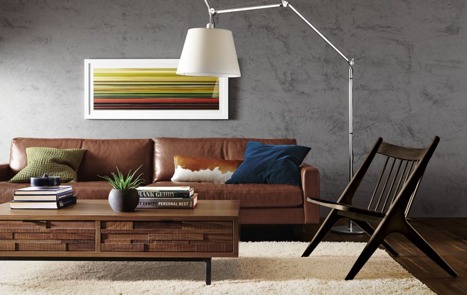 Detail of Hess 102-inch brown leather sofa