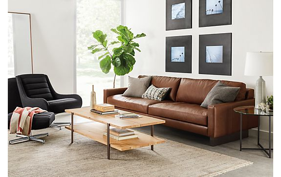 hess sofa in lecco cognac modern living room furniture. Black Bedroom Furniture Sets. Home Design Ideas