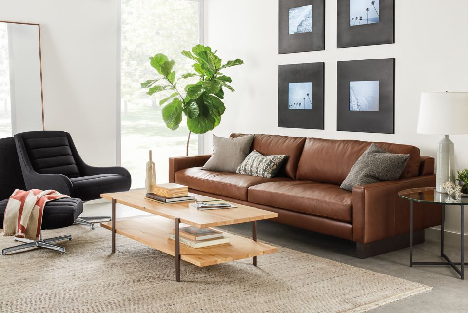 Hess 102-inch sofa in brown leather
