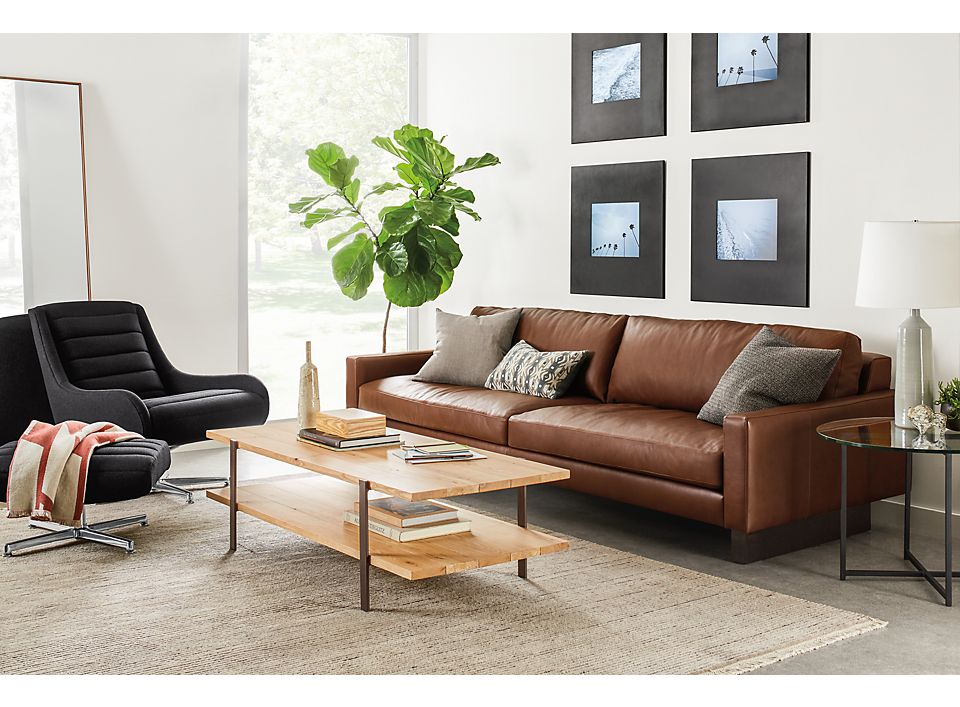Hess 102 Inch Sofa In Brown Leather