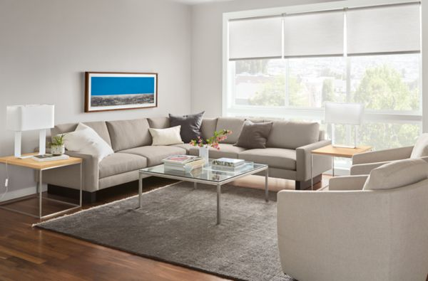 Hess ThreePiece Sectional in Kellen Ivory Modern Living Room