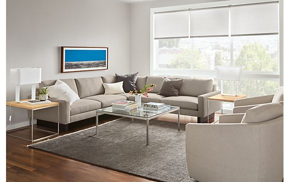 Hess Three Piece Sectional in Kellen Ivory  Modern Living Room