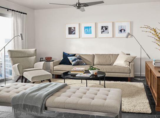Hess Leather Sofa With Ravella Studio Sofa