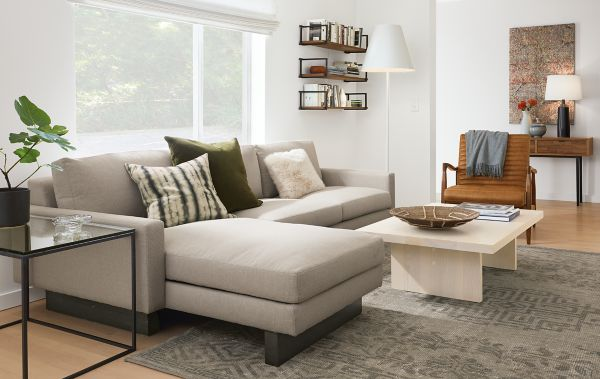 Hess Sofa with Chaise in Kellen Fabric Modern Living Room