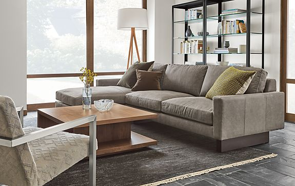 Hess Sofa With Chaise In Annata Grey Modern Living Room