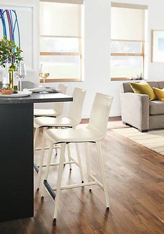 Hirsch leather counter stools in kitchen