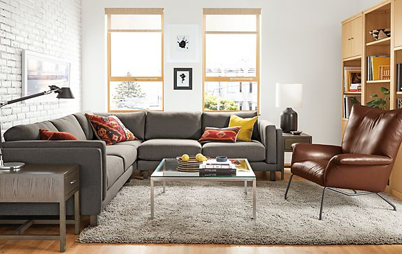 Holden Sectional With Paris Leather Chair