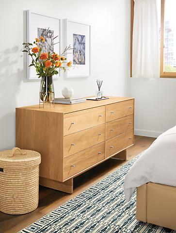Detail of Hudson dresser with wood base in white oak in bedroom