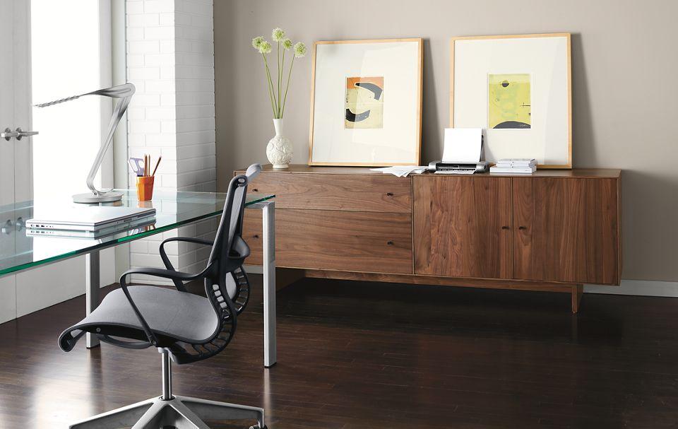 Detail of Hudson custom office cabinet