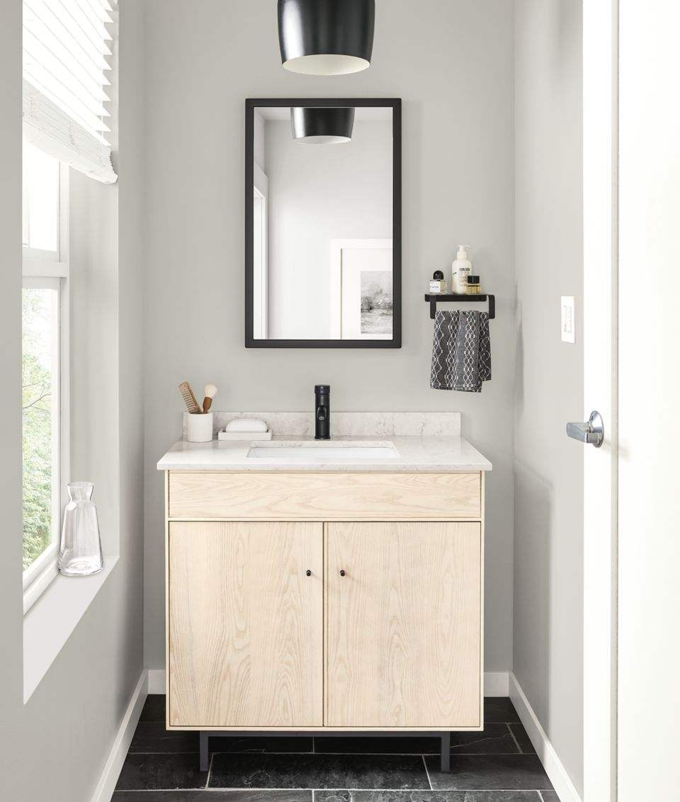 Detail of Hudson single sink vanity